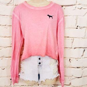 VS PINK Logo Long Sleeve Crop tee shirt Top ombré